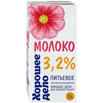 """Молоко """"Хорошее Дело"""" 3,2%  1л"""