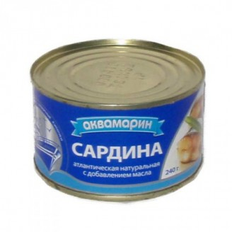 "Сардина натуральная ""Аквамарин"" 240гр"